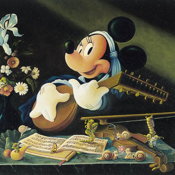 Minnie, suonatrice di liuto olio su tela 50x70 cm